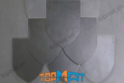 Đá slate đen Lai Châu lợp mái mũi hài 14x21x(0.2-0.4)cm